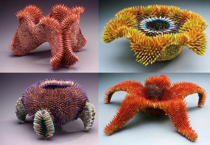 Игольчатые скульптуры из карандашей от Jennifer Maestre