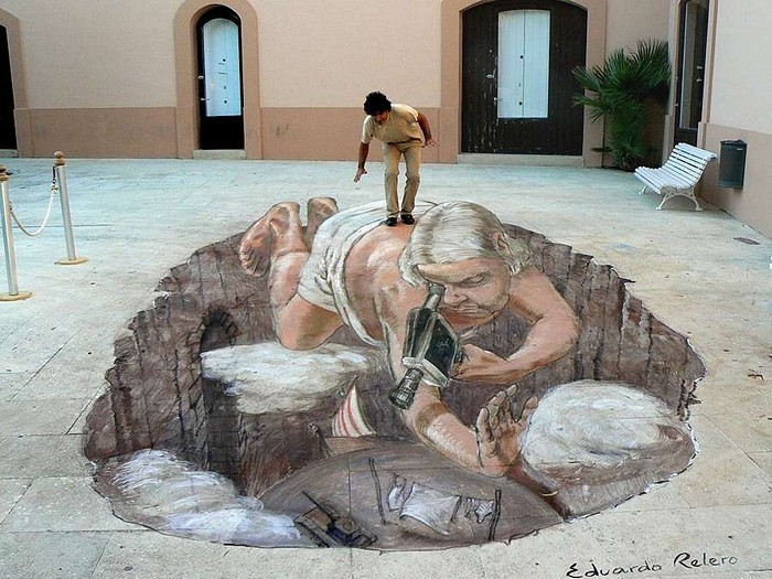 Стрит-арт в формате 3D от Eduardo Rolero