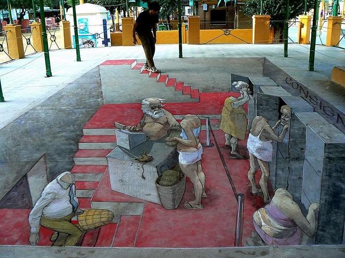 Трехмерные сюжеты для украшения улиц. Граффити Eduardo Rolero