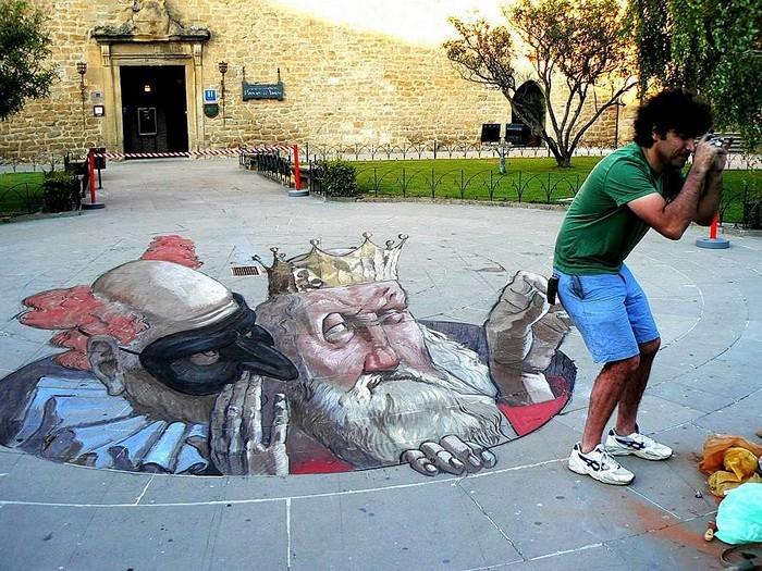Трехмерный стрит-арт с элементами юмора. Творчество Eduardo Rolero