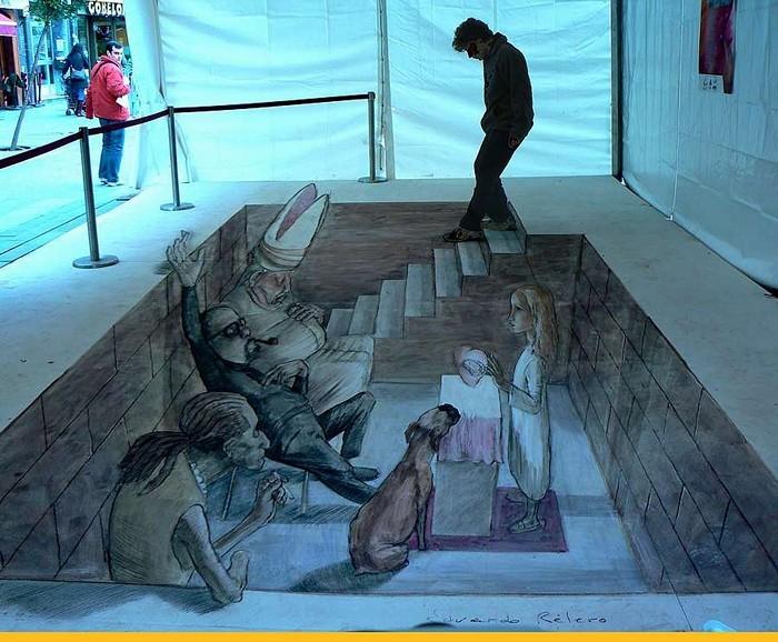 Игры с пространством в трехмерном стрит-арте Eduardo Rolero