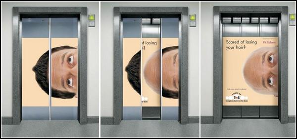 Лифт, посвященный продукции против облысения
