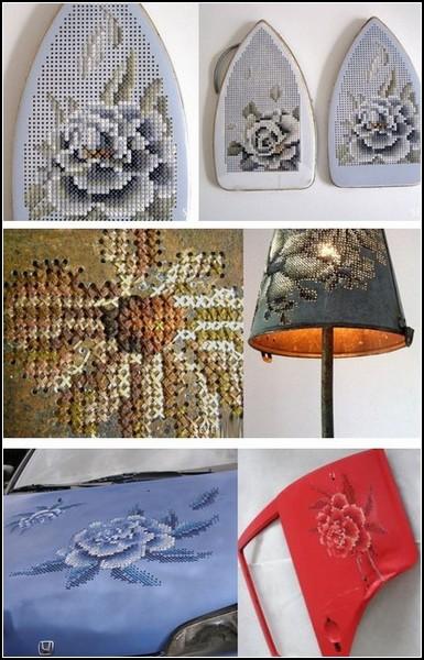 Вышивка по металлу: узоры крестиком от литовской художницы