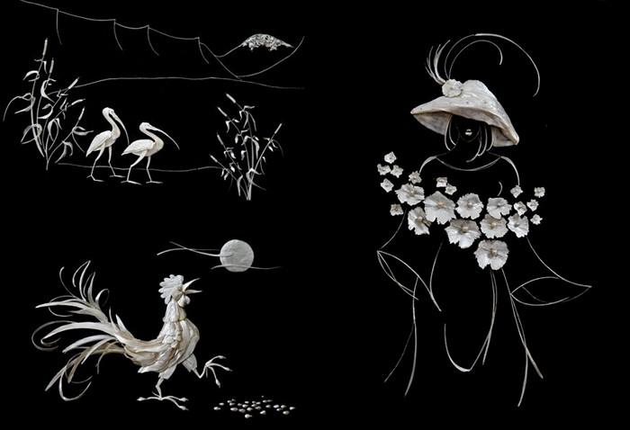 Картины-мозаики из рыбьих костей от украинской художницы Елены Журавской