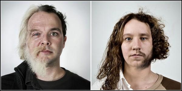Фотоэксперимент Genetic portraits. Слева: неизвестные родственники. Справа: Karine и Dany, брат и сестра