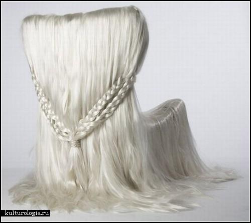 Волосатый стул-инсталляция Hair Chair