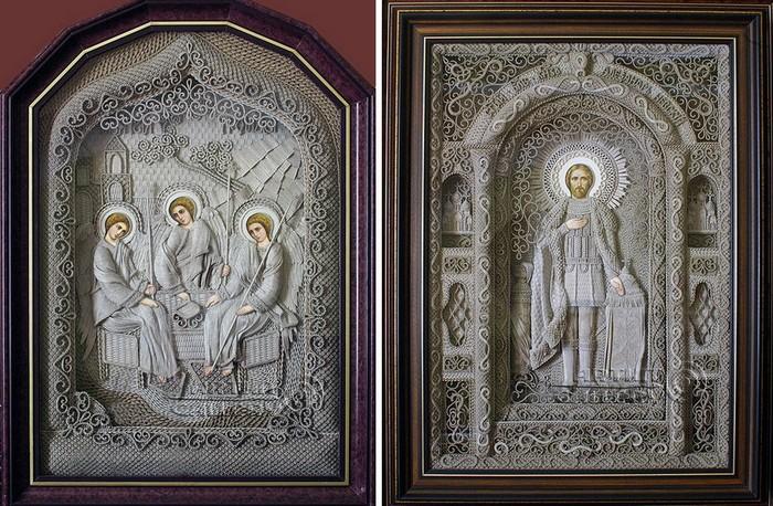 Богоугодное творчество Владимира Денщикова. Уникальные объемные иконы из льняной нити