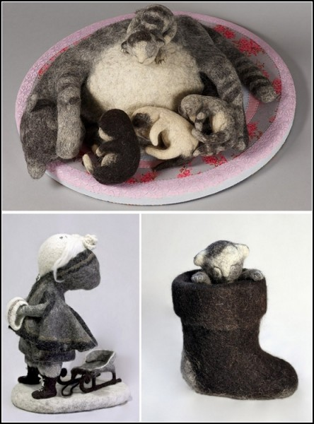 Необычные игрушки из войлока Ирины Андреевой.