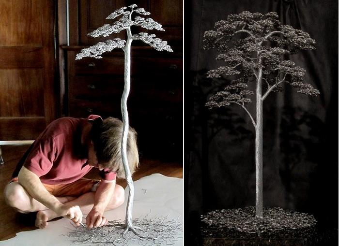 Алюминиевые деревья. Скульптуры из проволоки от Kevin Iris