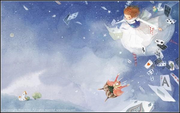 Другая Алиса из Страны Чудес. Акварельные иллюстрации от Kim Min Ji