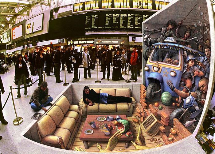 Трехмерные рисунки на асфальте от маэстро Курта Веннера (Kurt Wenner)
