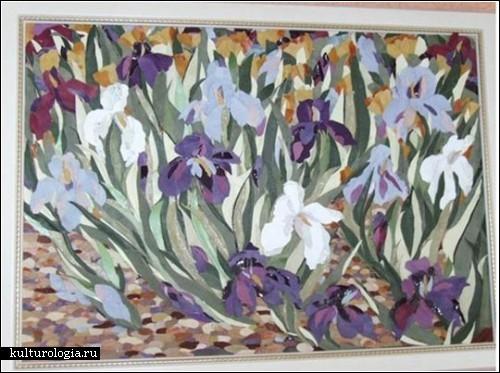 Кожаные картины украинской художницы. Ирисы