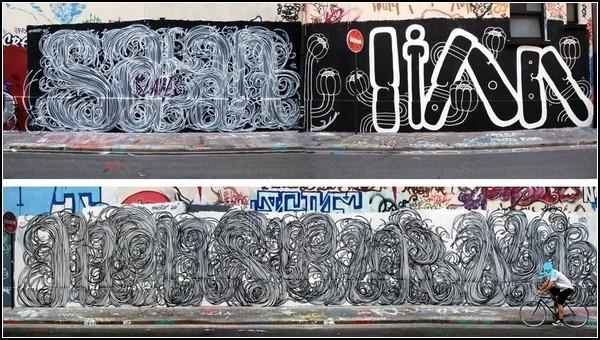 Уличная аппликация художника Monsieur Qui