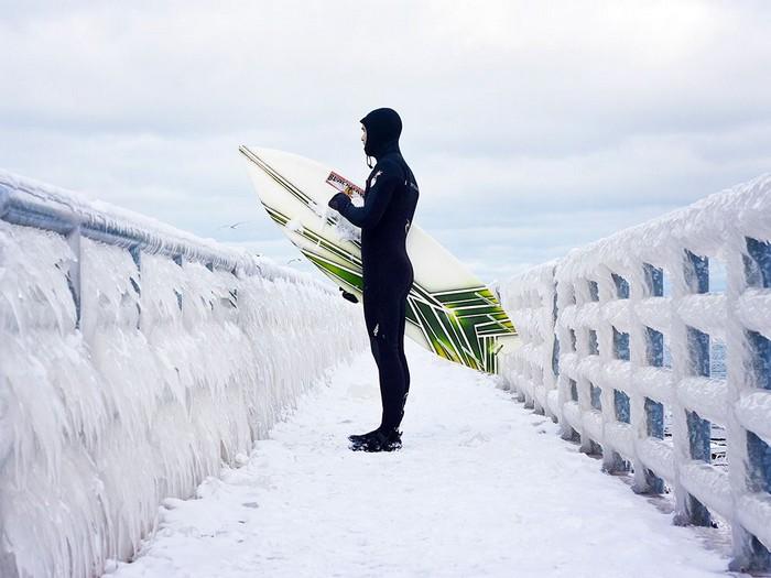 Ice Surfer, Lake Michigan