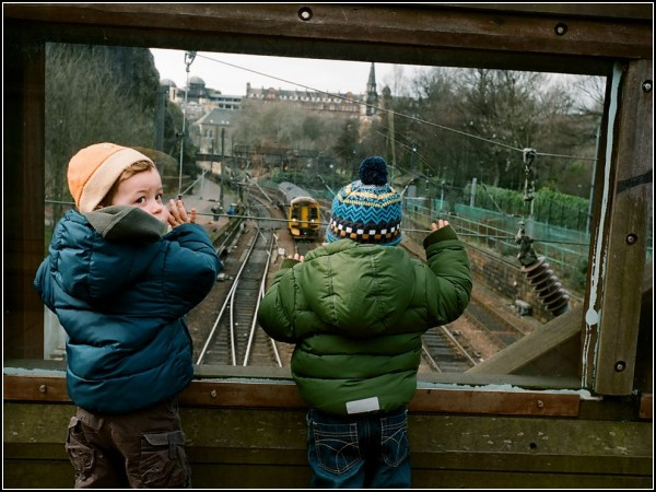 Children Watching Train, Edinburgh