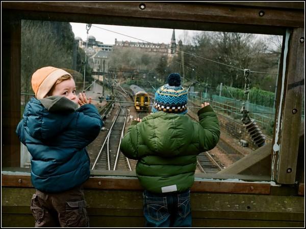 Children Watching Train, Edinburgh