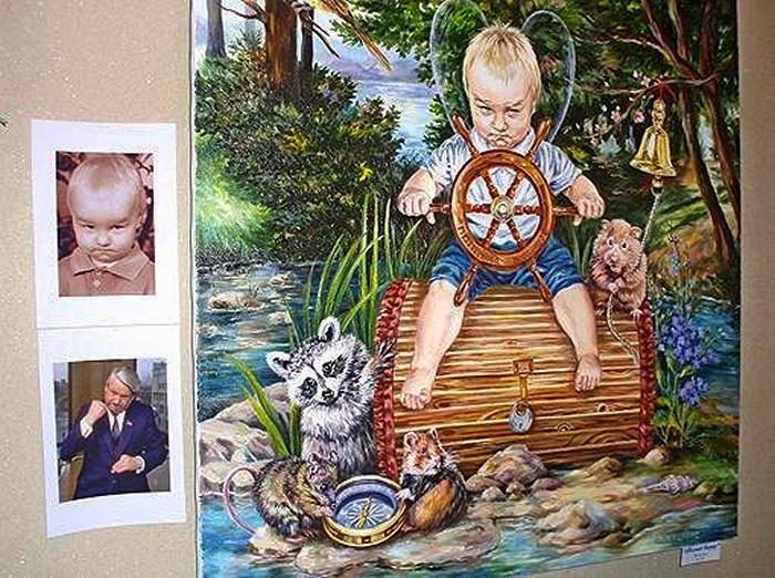 Борис Ельцин в образе эльфа с крыльями. Интерпретация Николины Бакуменко
