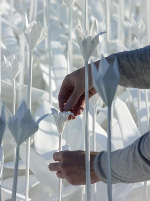 Folding for Peace: белый сад из цветов-оригами