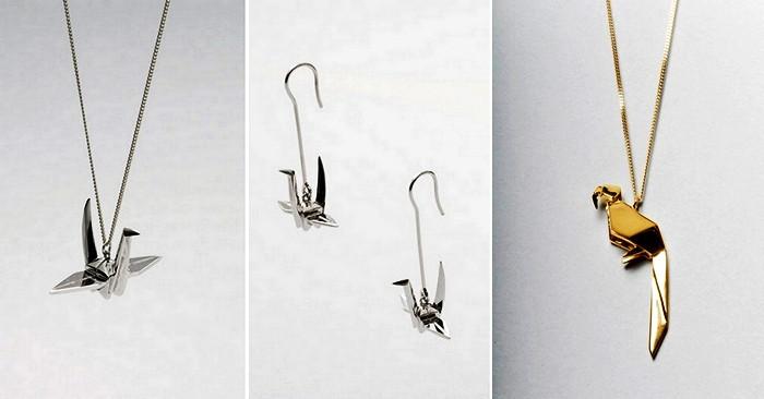 Птичка Tsuru и золотой попугай. Украшения из серии Origami Jewellery