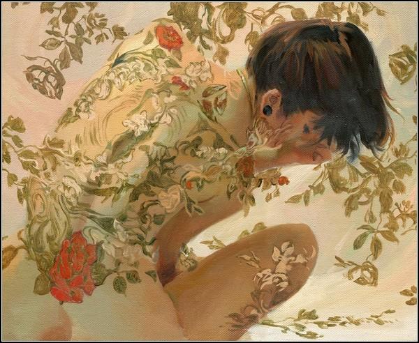 За мокрым стеклом в цветочных татуировках. Картины Серхио Лопеса (Sergio Lopez)