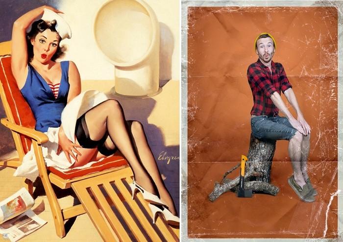 Пин-ап в исполнении мужчин. Серия забавных плакатов Men-ups! с мужчинами в женских позах