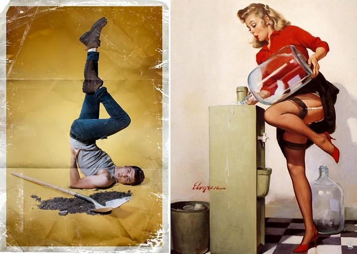 Плакаты из серии Men-ups! с мужчинами в женских позах