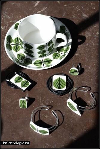 Украшения из разбитой фарфоровой посуды