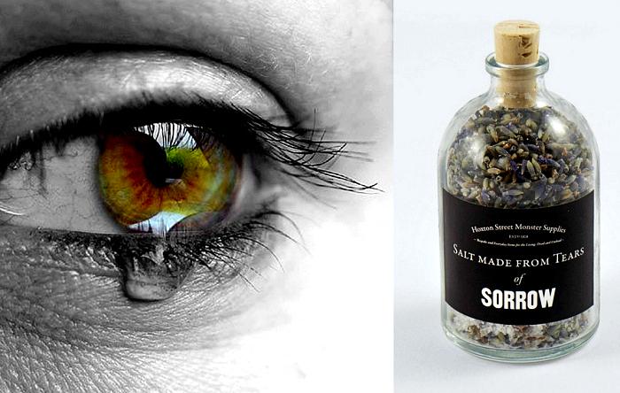 Баночки с солью из человеческих слез. *Слезы от горя* в арт-проекте Haxton Street Monster Supplies