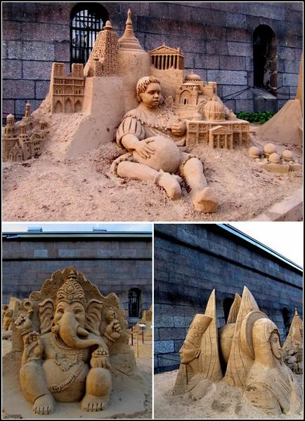 Шедевры мирового искусства. Скульптуры из песка на пляже Петропавловской крепости