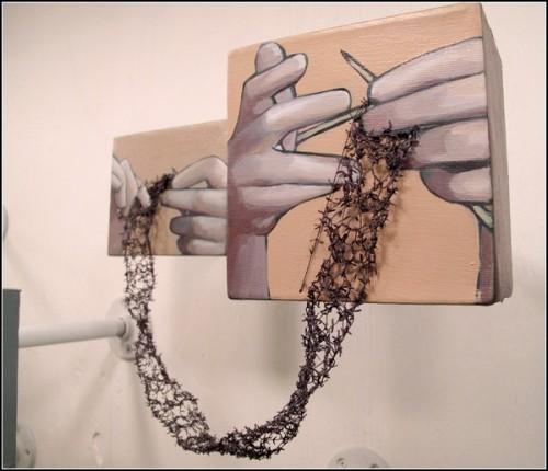 Вязание плюс рисование. Смешанный арт от Rania Hassan