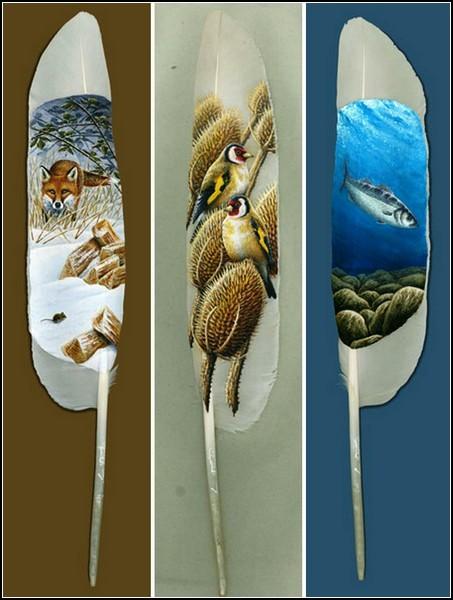Картины на лебединых перьях от Яна Дэйви (Ian Davie)