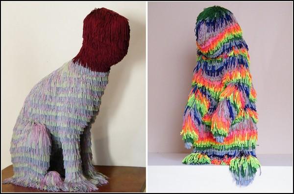 Скульптуры животных из шерстяной бахромы. Творчество Троя Эмери (Troy Emery)