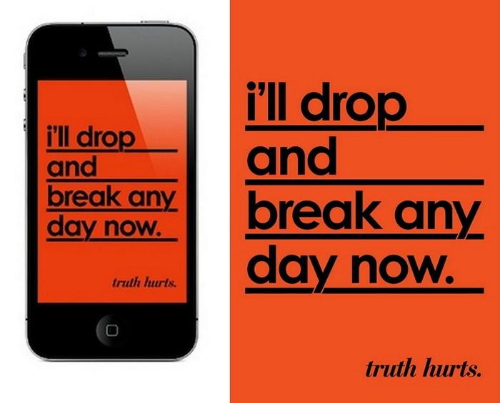 *В любой момент я могу упасть и разбиться*. Креативные обои для iPhone из серии Truth Hurts