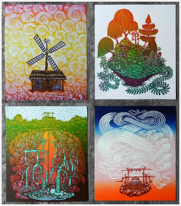Современная ксилография от арт-студии Tugboat Printshop