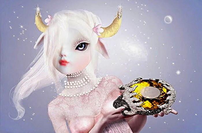 Телец. Иллюстрация Натали Шау(Natalie Shau) к серии украшений для знаков зодиака