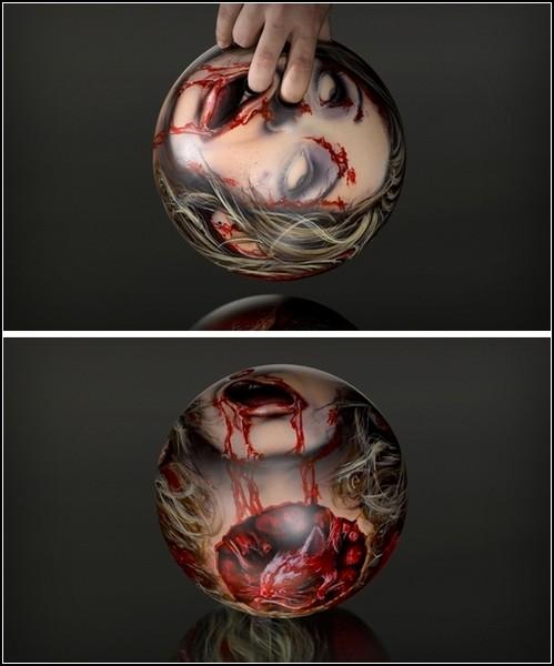 Головы зомби в качестве шаров для боулинга. Арт-проект Zombie heads