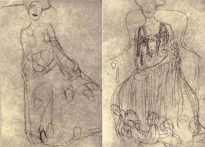 Г. Климт. Эскизы к портрету Адели Блох-Бауэр | Фото: obiskusstve.com