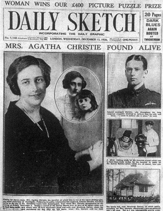 На первой полосе газеты – новость о том, что пропавшая без вести писательница нашлась