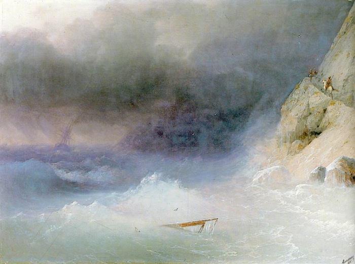 И. Айвазовский. Буря у скалистых берегов, 1875 | Фото: art-portrets.ru