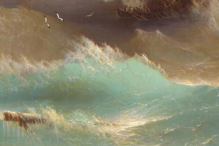 И. Айвазовский. Корабль среди бурного моря, 1887. Фрагмент | Фото: liveinternet.ru