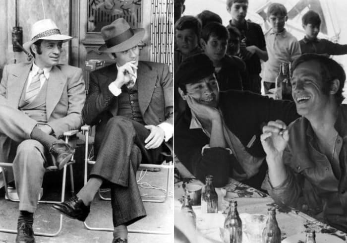 Слева – актеры на съемках легендарного фильма *Борсалино*, 1969. Справа – банкет после съемок *Борсалино*, 1969 | Фото: trinixy.ru