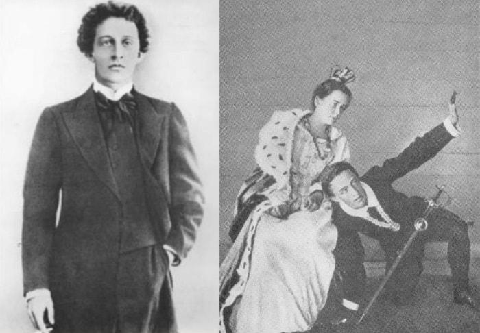 А. Блок в 1907 г. и А. Блок в роли Гамлета в домашнем спектакле | Фото: shkolageo.ru и liveinternet.ru