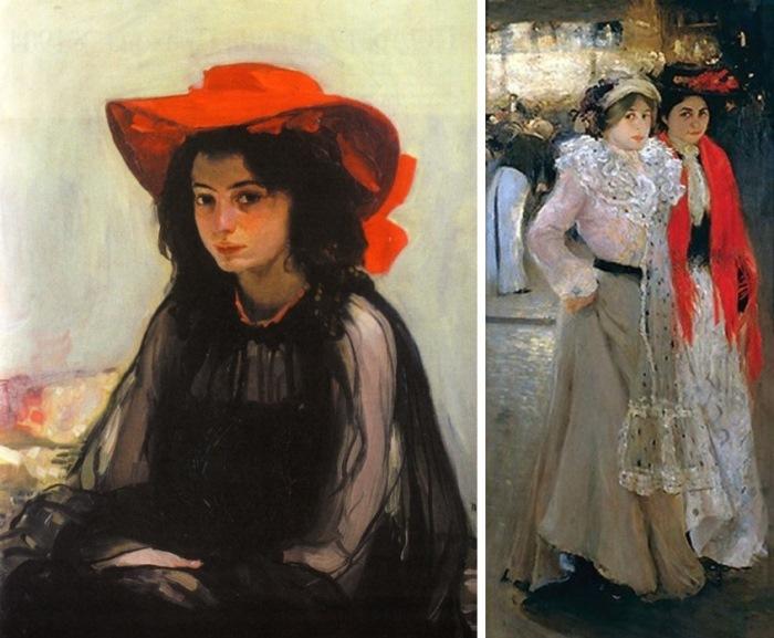 Работы Мурашко парижского периода: *Девушка в красной шляпе* и *Парижанки. Возле кафе*, 1902-1903