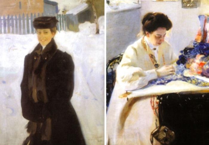 Александр Мурашко. Портрет Людмилы Куксиной, 1910. За пяльцами. Портрет Елены Праховой, 1905