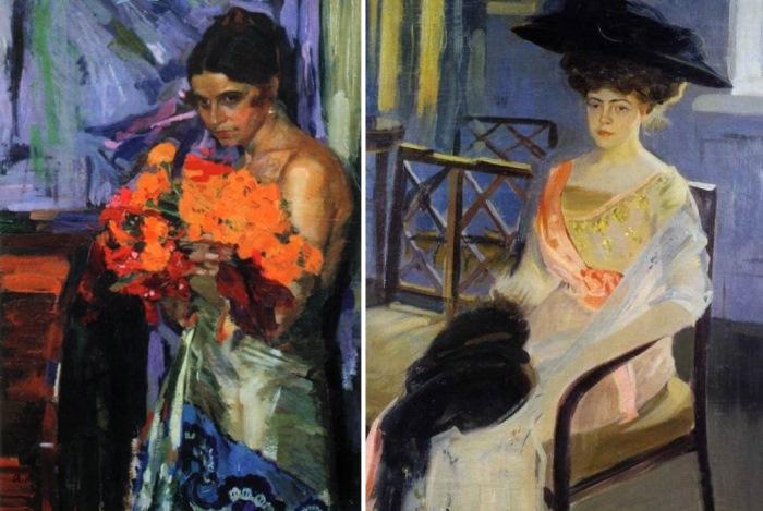 Александр Мурашко. Женщина с цветами, 1918. Портрет Веры Епанчиной, 1910