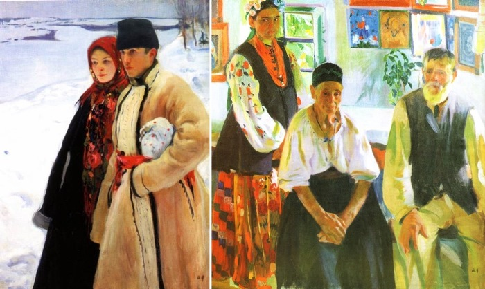 Александр Мурашко. Зима, 1905. Крестьянская семья, 1914