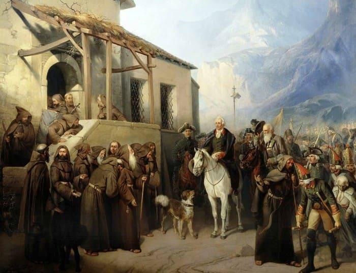 А. Шарлемань. Фельдмаршал А. В. Суворов на вершине Сен-Готарда 13 сентября 1799 г., 1855 | Фото: culture.ru