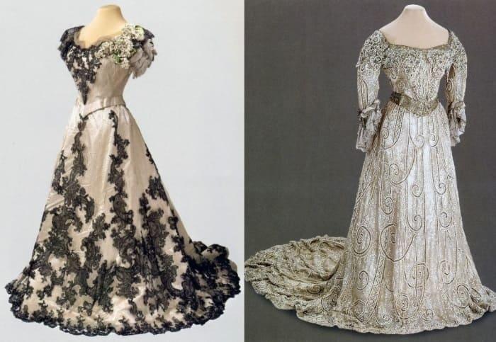 Слева – бальное платье императрицы, 1900. Справа – вечернее платье, 1903 | Фото: liveinternet.ru