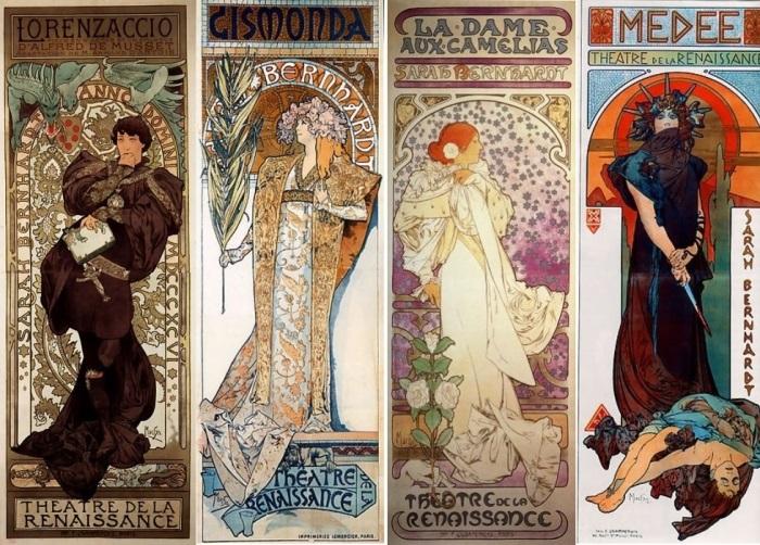 Альфонс Муха. Рекламные плакаты спектаклей Сары Бернар, 1894-1898 | Фото: liveinternet.ru
