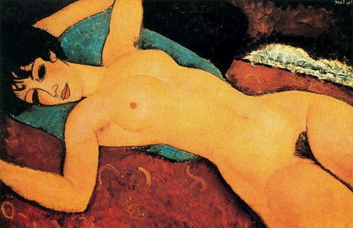 Амедео Модильяни. Лежащая обнаженная с раскинутыми руками, 1917 г.